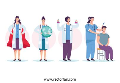 female doctors staff group with patient