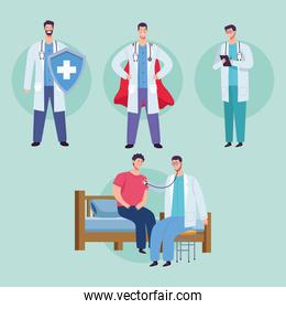 male doctors staff group with patient