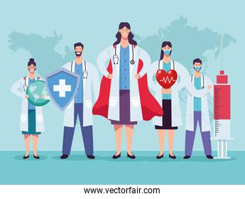 doctors staff group with shield and heart cardio
