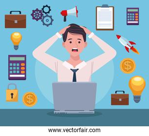 businessman extressed for information overload with set icons