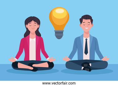 business couple practicing yoga lotus position
