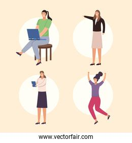 four businesswomen characters