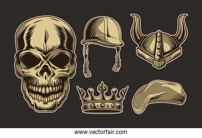 skull and accessories
