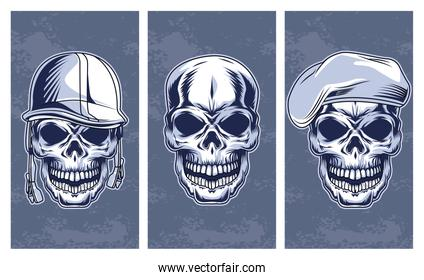 skulls set drawns