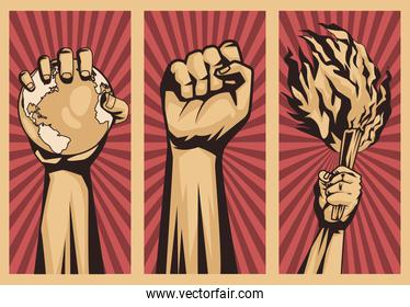 three hands protesting