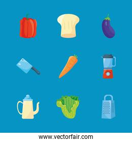 food and utensils
