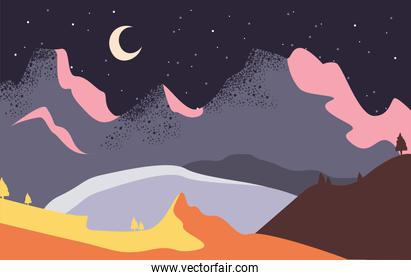 Minimalist landscape of mountains at night vector design