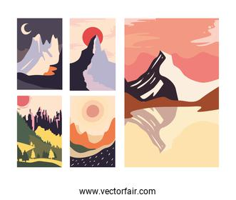 Minimalist landscapes banners collection vector design