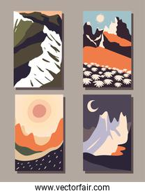 Minimalist landscapes banners icon collection vector design