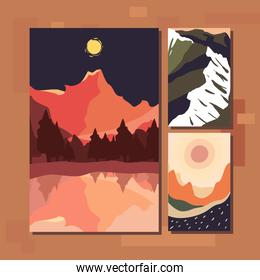 Minimalist landscapes banners icon group vector design