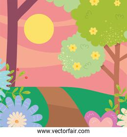 Spring landscape with flowers trees sun and road vector design