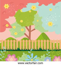 Spring landscape with flowers tree and fence vector design