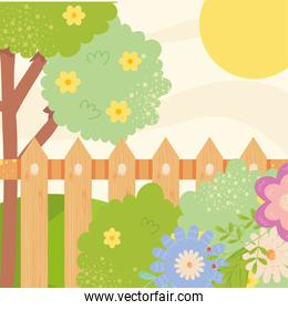 Spring landscape with flowers fence tree and sun vector design