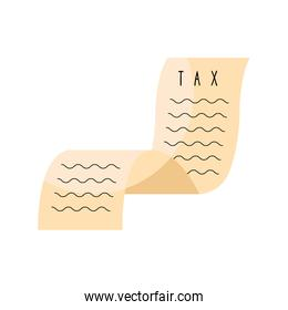 tax day paper receipt isolated icon