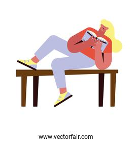 woman reading table