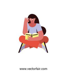 woman reading seated