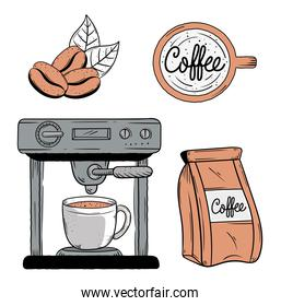 doodle coffee icons