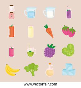 smoothie ingredients icons