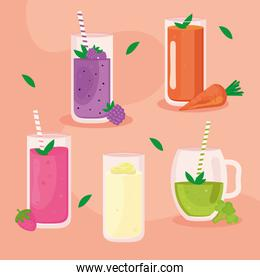 five smoothies icons