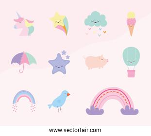 set of cute doodle on a pink background