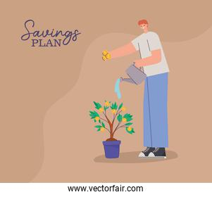 man with one water can in the hand, money tree and saving plan lettering
