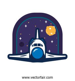 colorful space badge