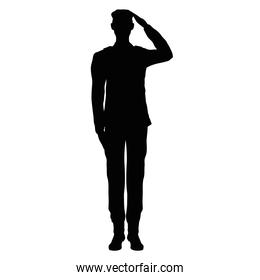 officer saludating silhouette