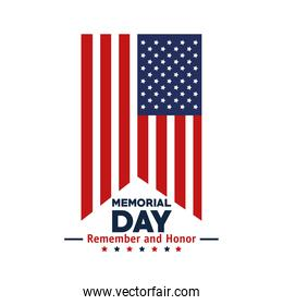 memorial day flag icon isolated