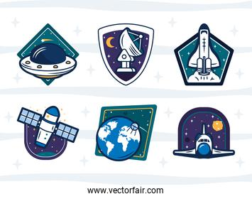colorful space badges