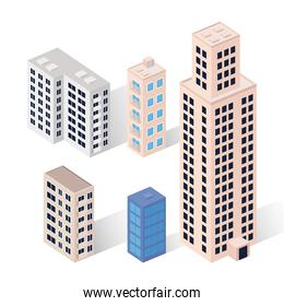 five buildings icons