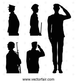 five soldiers silhouettes