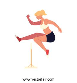 woman jumping obstacle