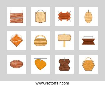 wood plank signboards
