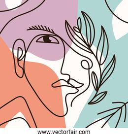 abstract female face with colors