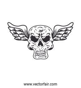 biker patch skull with wings