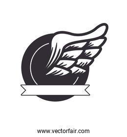 wing biker patch and ribbon