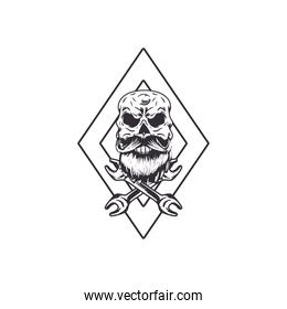 skull biker banner with wrenches