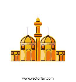 islamic city building tower mosque cartoon isolated style
