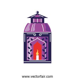 arabic lantern with candle cartoon isolated style