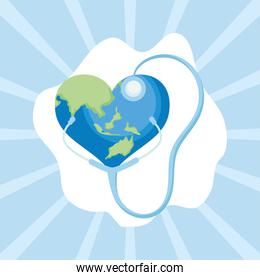 World health day heart stethoscope