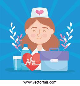 cute nurse with medical icons