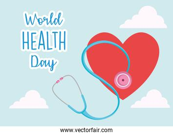 world health day card with one red heart