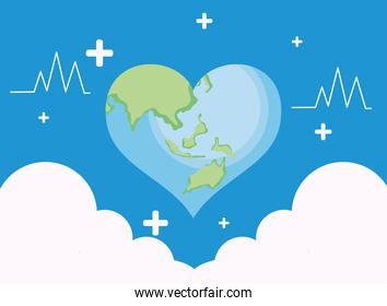 World health heart and clouds