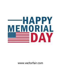 memorial day lettering isolated icon