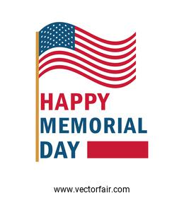 memorial day card with usa flag waving