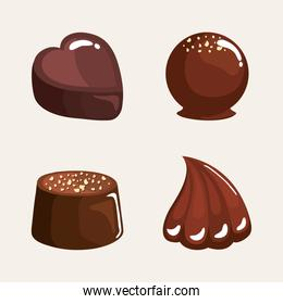 four chocolate products