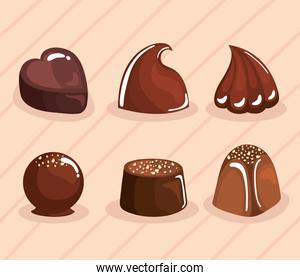 six chocolate products