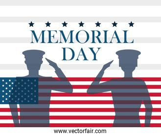 memorial day card with soldiers silhouettes
