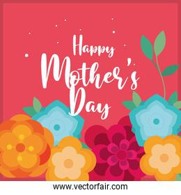happy mothers day lettering in garden scene