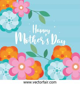 happy mothers day with flowers in blue background